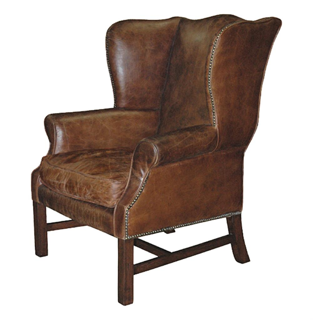 Leather Chair With Metal Accent On Arms: Gaston Rustic Lodge Aged Leather Wingback Library Accent