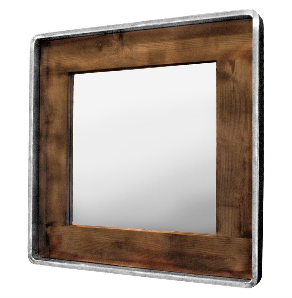 Roosevelt rustic lodge reclaimed wood large square mirror for Rustic mirror