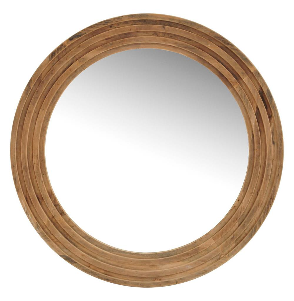 Tavern Rustic Lodge Reclaimed Pine Large Round Mirror