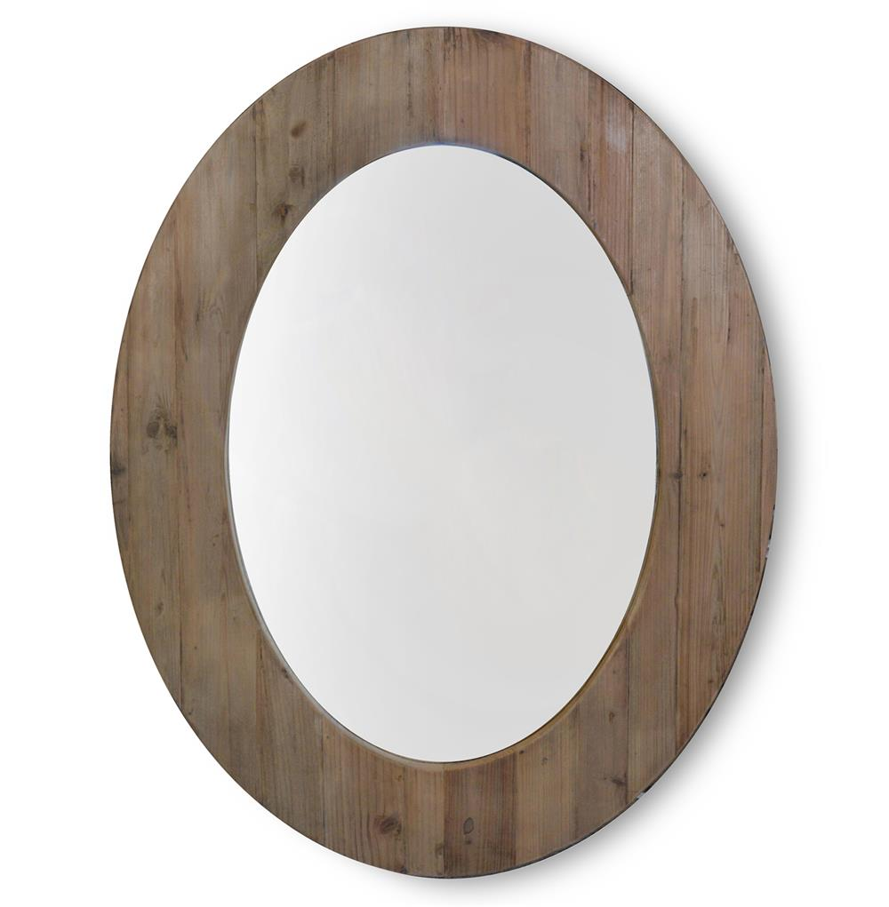 Tavern rustic lodge reclaimed pine large oval mirror for Rustic mirror