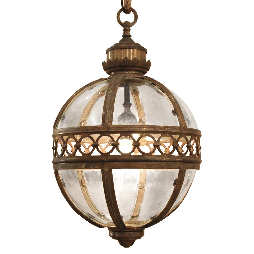 Hanging Light Round: Jordan Global Bazaar Round Antique Brass Pendant 1 Light
