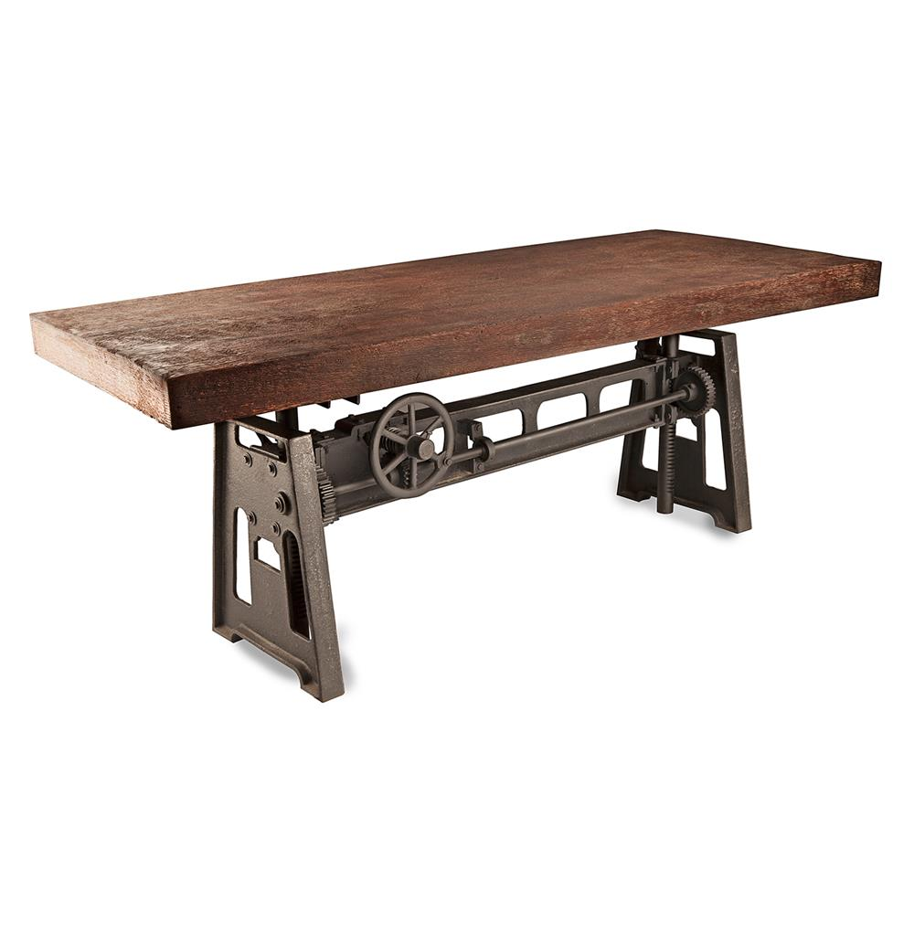 Gerrit industrial style rustic pine iron dining table for Restaurant tables
