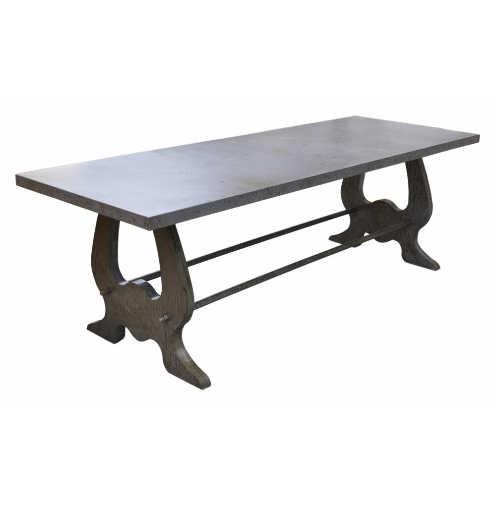 Verre industrial style lute iron dining table kathy kuo home for Iron dining table