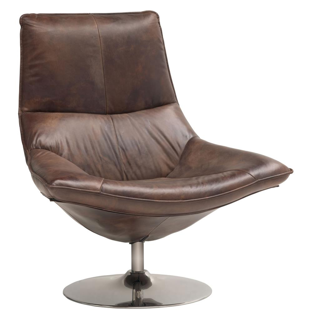 Kasper Industrial Leather Masculine Swivel Accent Chair
