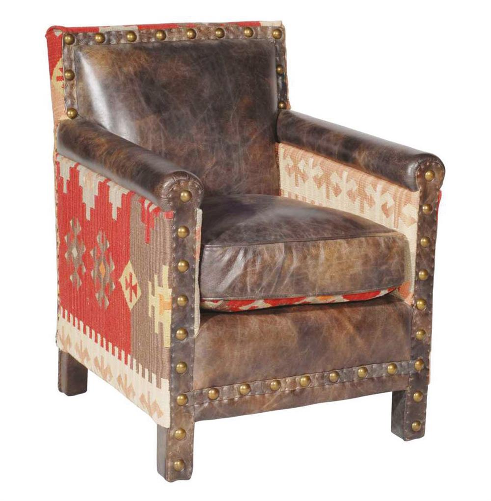 Aram Rustic Lodge Kilim Brown Distressed Leather Arm Chair
