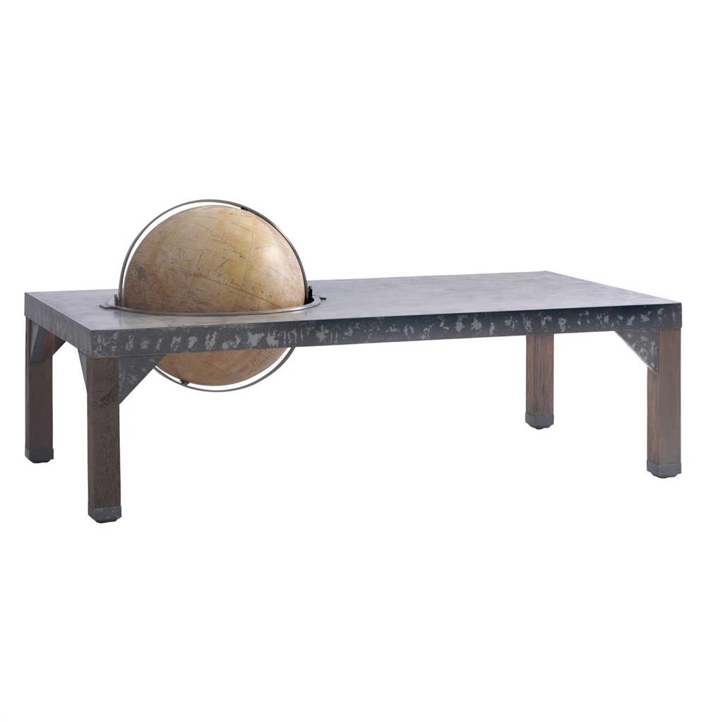 Elliot industrial loft metal inset globe coffee table kathy kuo home Industrial metal coffee table