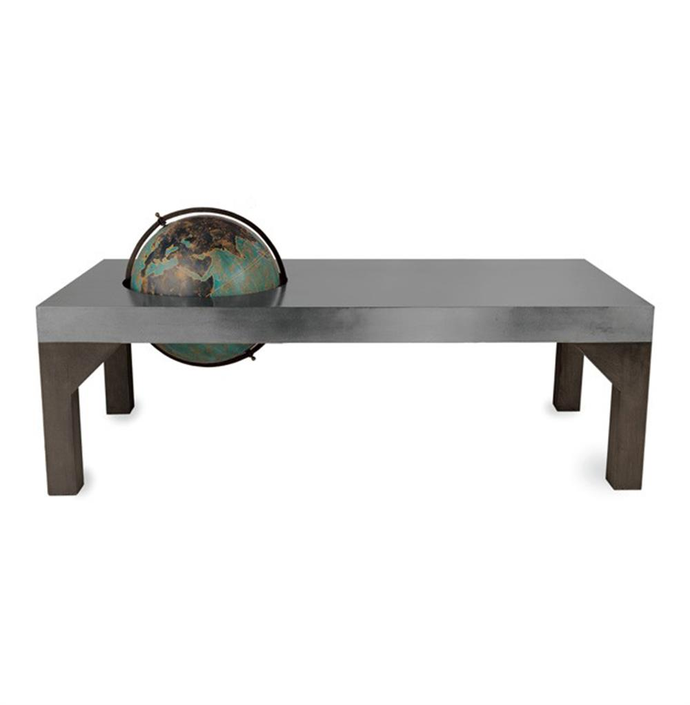 Gordon industrial loft metal inset color globe coffee table kathy kuo home Industrial metal coffee table