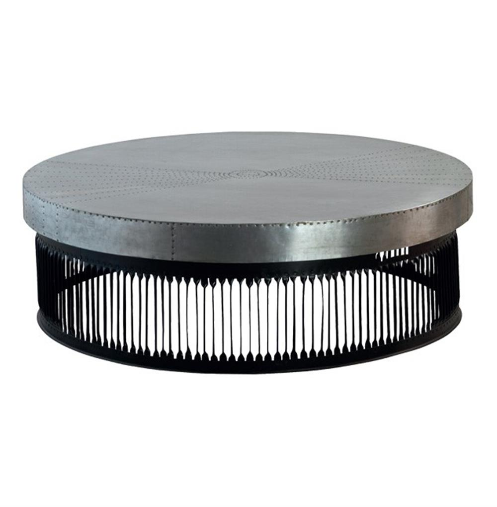 Jalk Industrial Style Masculine Studded Metal Round Coffee Table 48 D Kathy Kuo Home