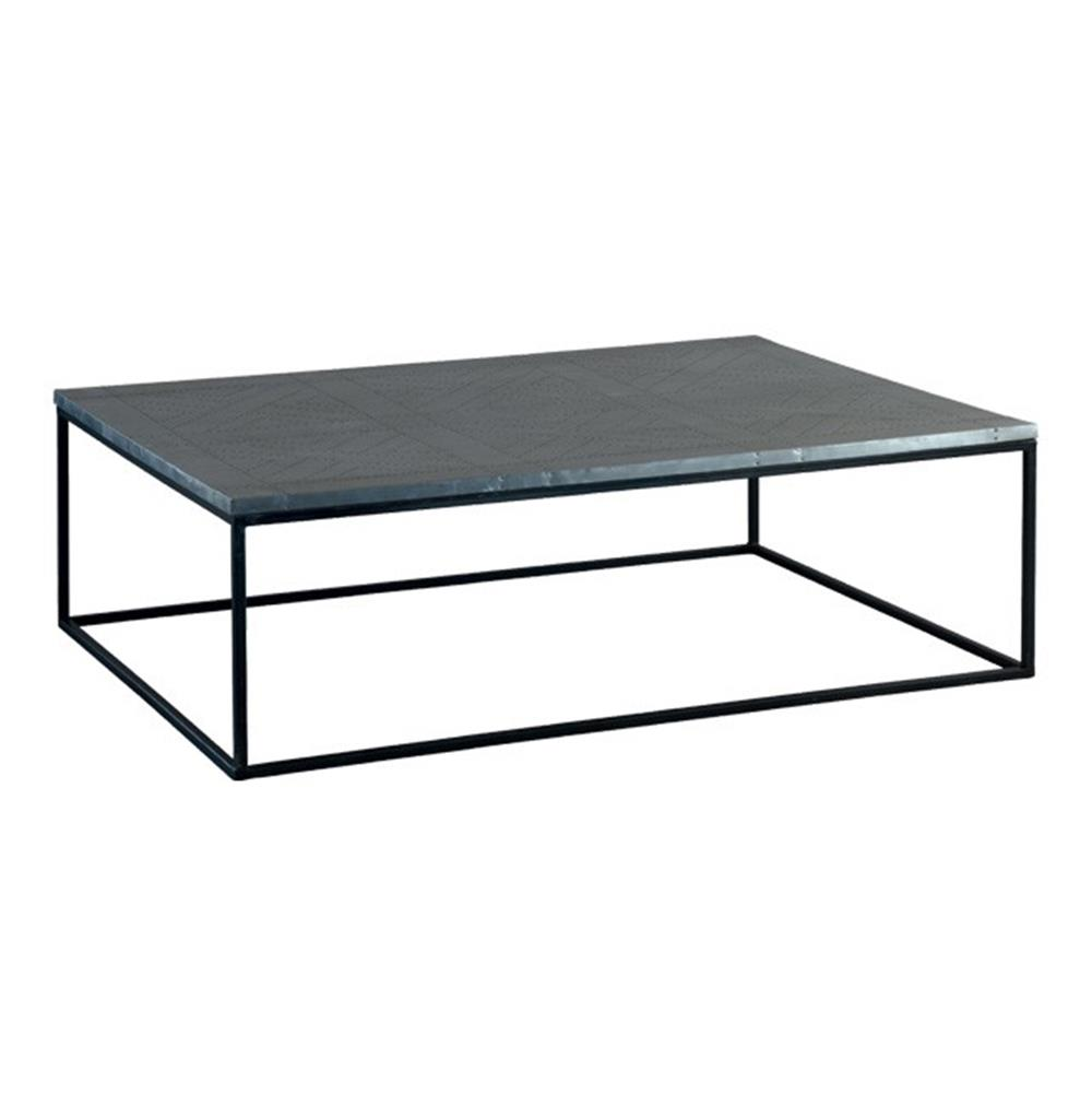 Deon industrial style pattern metal rectangle coffee table kathy kuo home Industrial metal coffee table