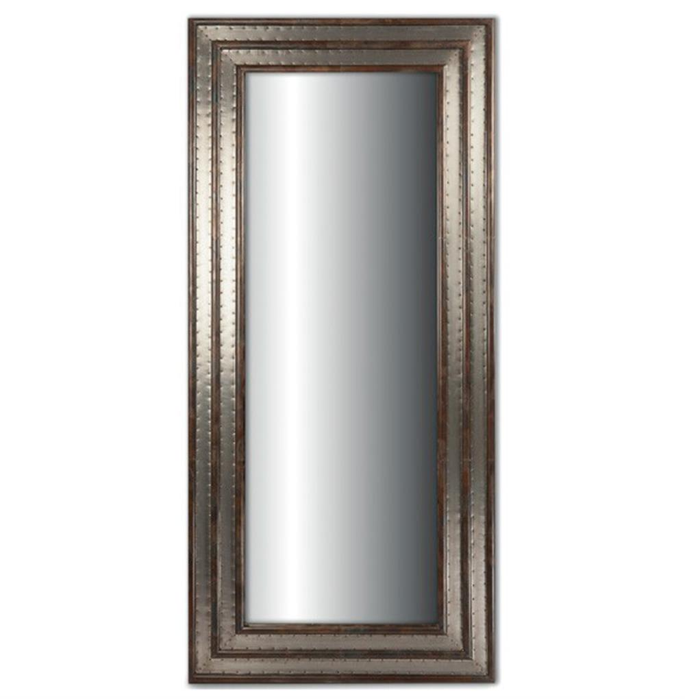 Egmont industrial loft rustic metal double frame mirror 49 h for Metal frame mirror