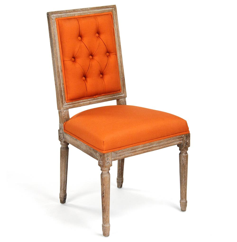 Orange Dining Chairs: Pair Louis XVI Orange Tufted Linen Dining Side Chair