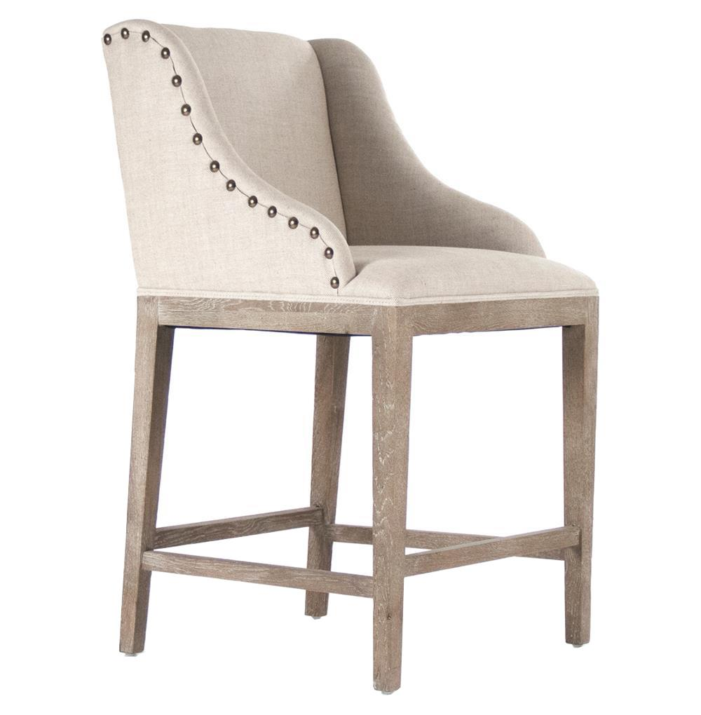 Corneille french country limed oak linen counter stool for Counter stools