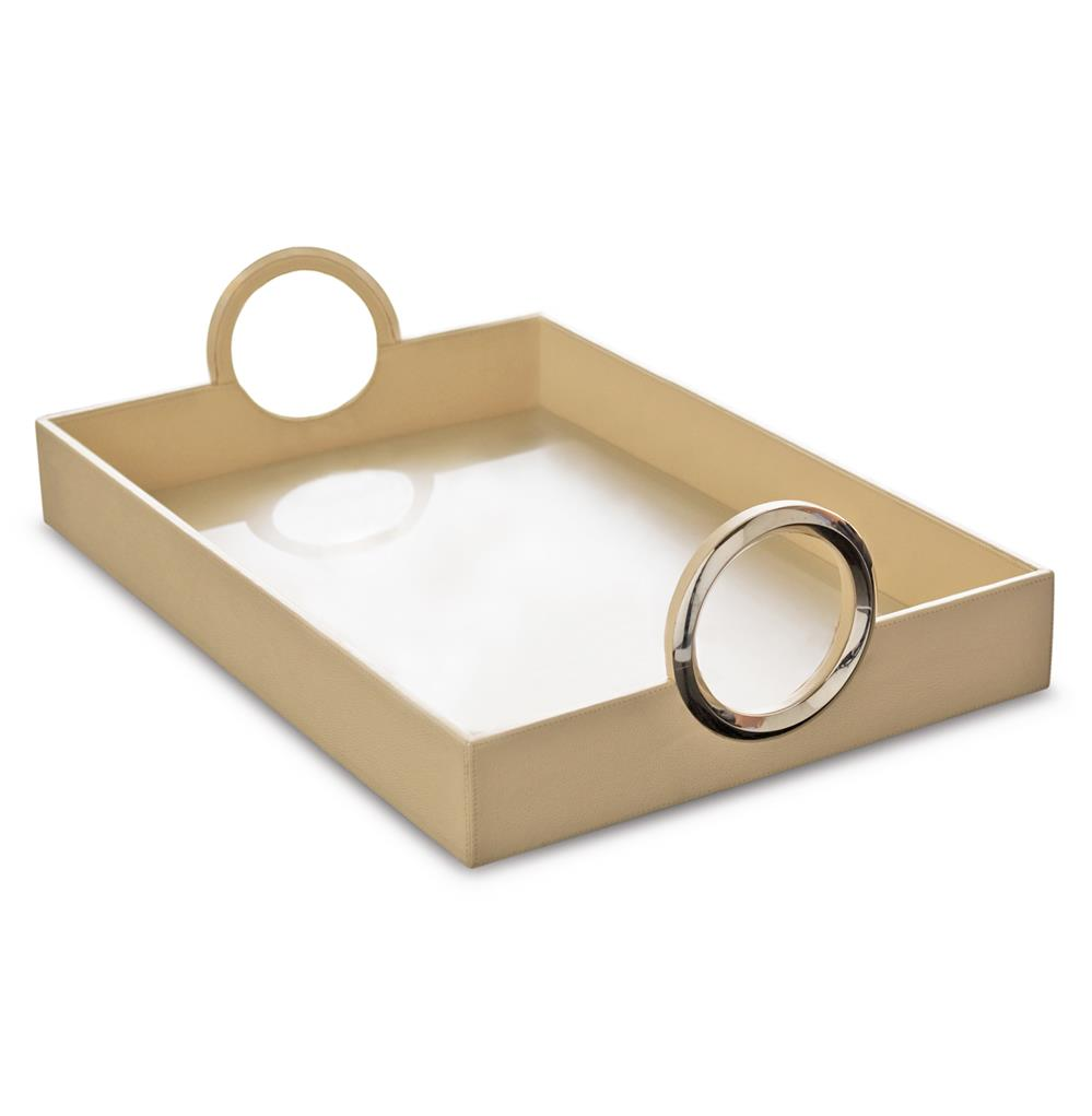 Faye hollywood regency leather serving tray with silver ring handles