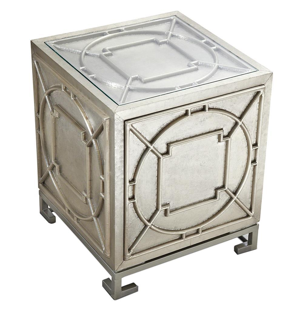 Keaton Hollywood Regency Silver Storage Cube Side Table | Kathy Kuo Home