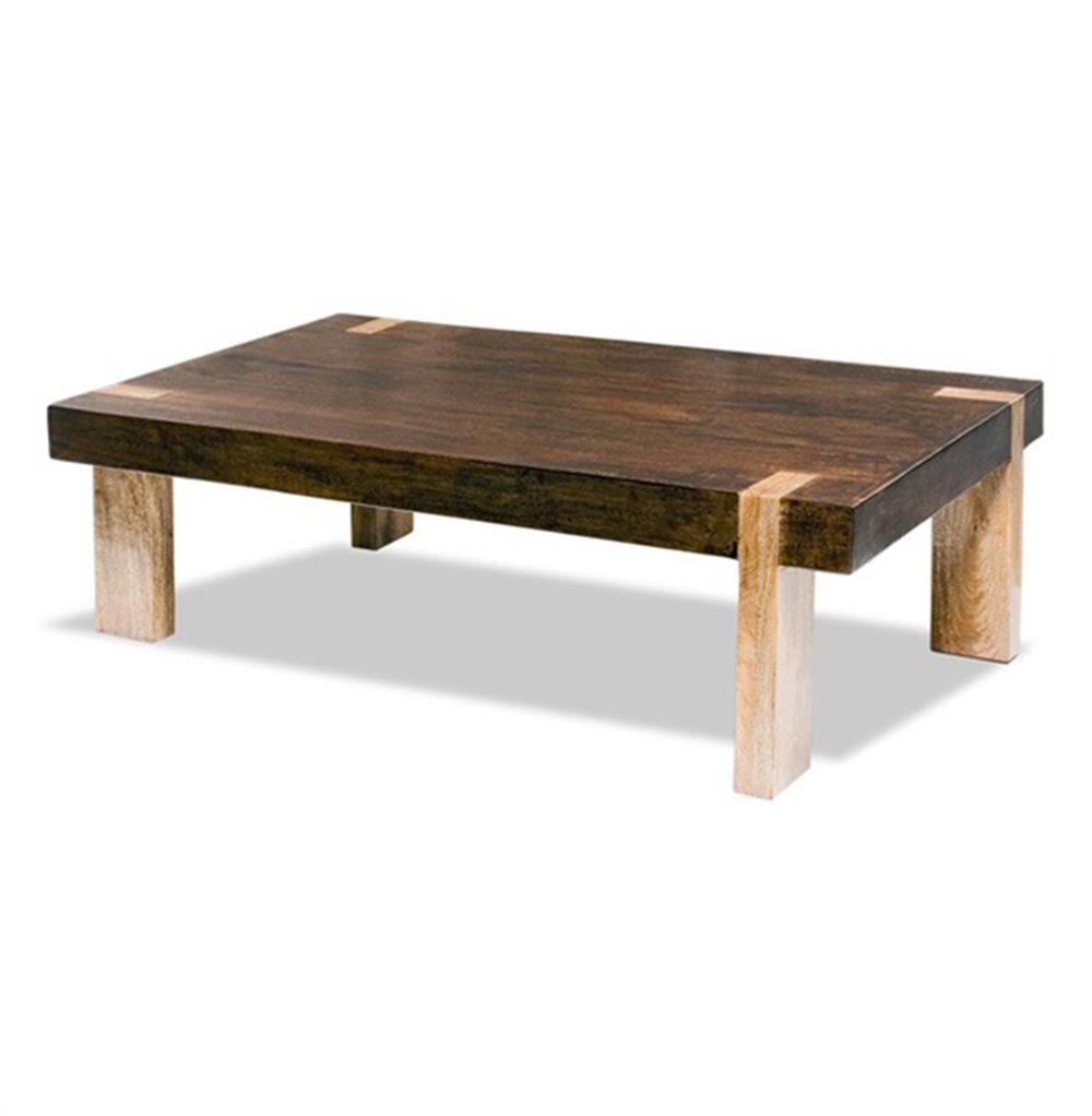 Ibiza Solid Wood Chunky Rustic Contemporary Rectangle Coffee Table Kathy Kuo Home