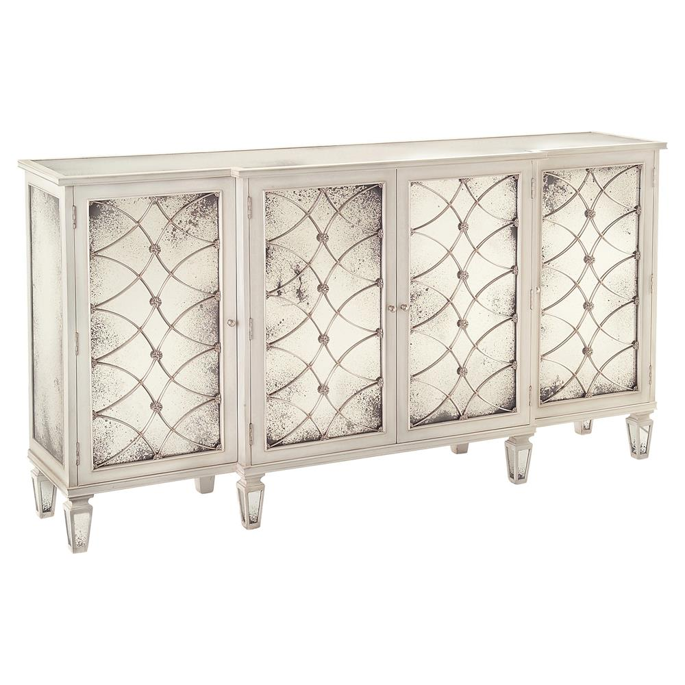 Bonet hollywood regency grillwork antique white mirrored for Sideboard holz