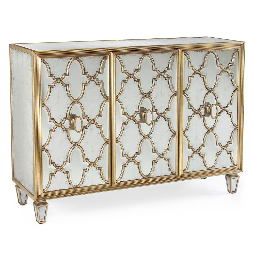 John Richard Tte Hollywood Regency Silver Leaf Mirrored Gold Lattice Sideboard Kathy Kuo Home