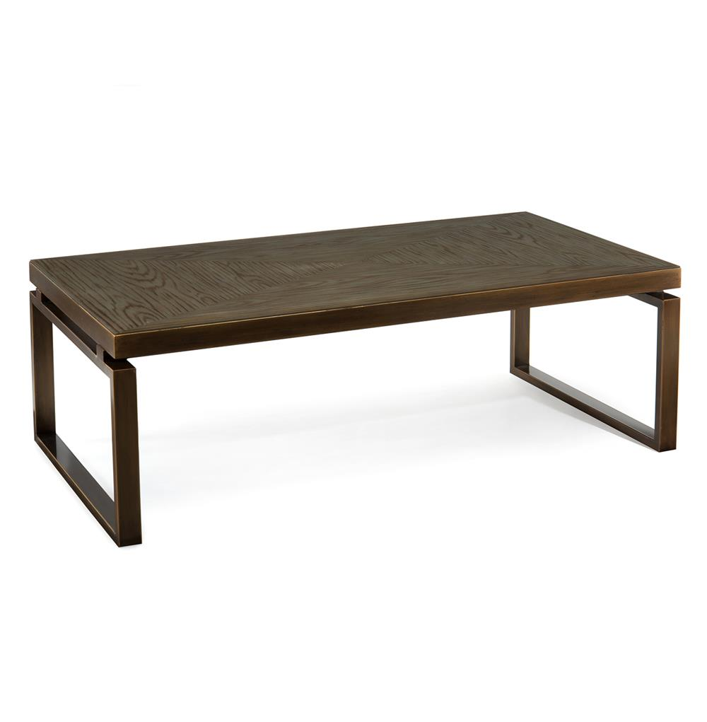 Huckleberry Modern Rustic Faux Wood Glass Bronze Coffee Table Kathy Kuo Home