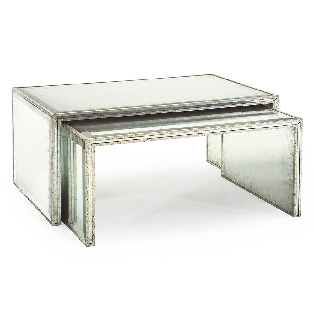 JohnRichard Jasmine Hollywood Regency Silver Leaf Mirror Nesting - John richard coffee table