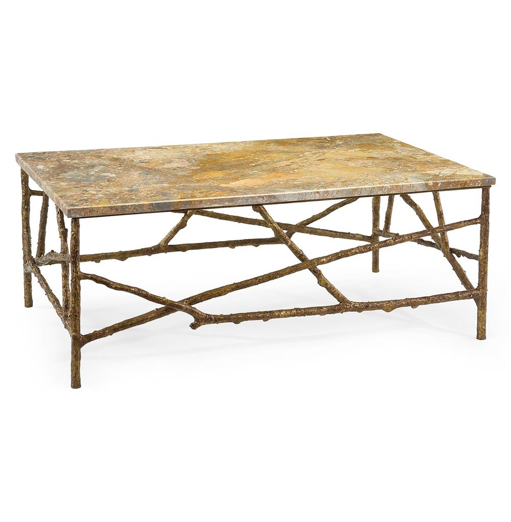 Sun Valley Rustic Lodge Antique Gold Marble Branch Coffee Table Kathy Kuo Home