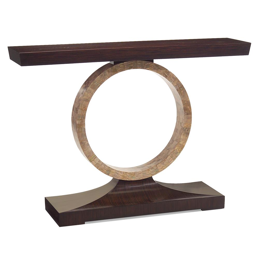 Macassar ebony hollywood regency mother of pearl circle console macassar ebony hollywood regency mother of pearl circle console table kathy kuo home geotapseo Image collections