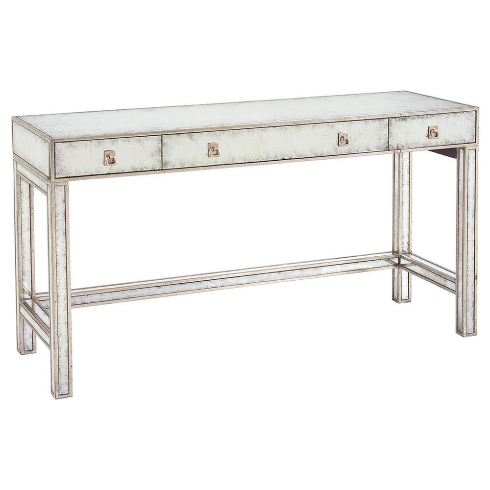 Joelle Hollywood Regency Silver Leaf Mirror 3 Drawer Vanity Table Desk |  Kathy Kuo Home