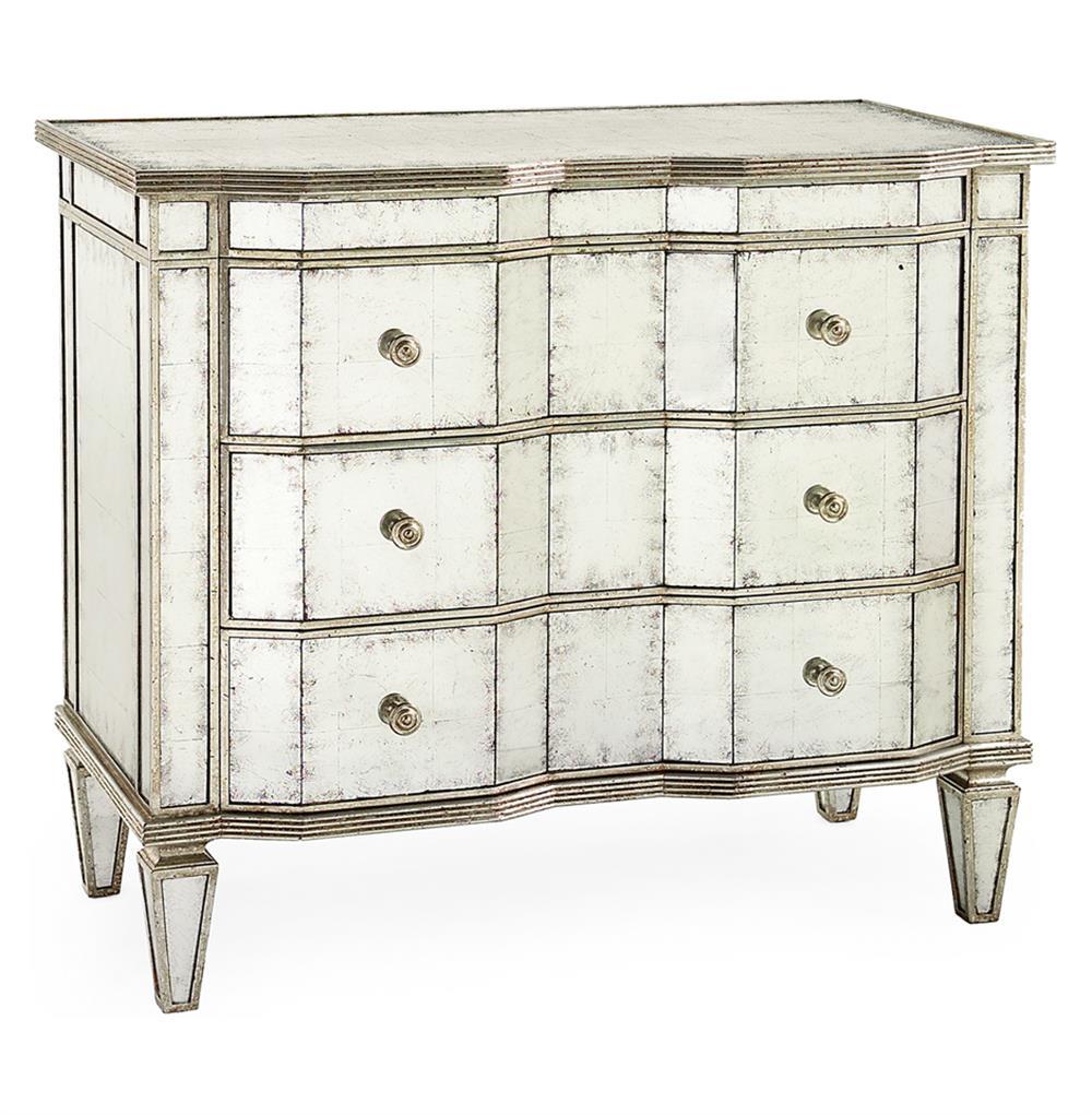 Silver Dresser: John-Richard Aubrey Hollywood Regency Silver Leaf Mirror