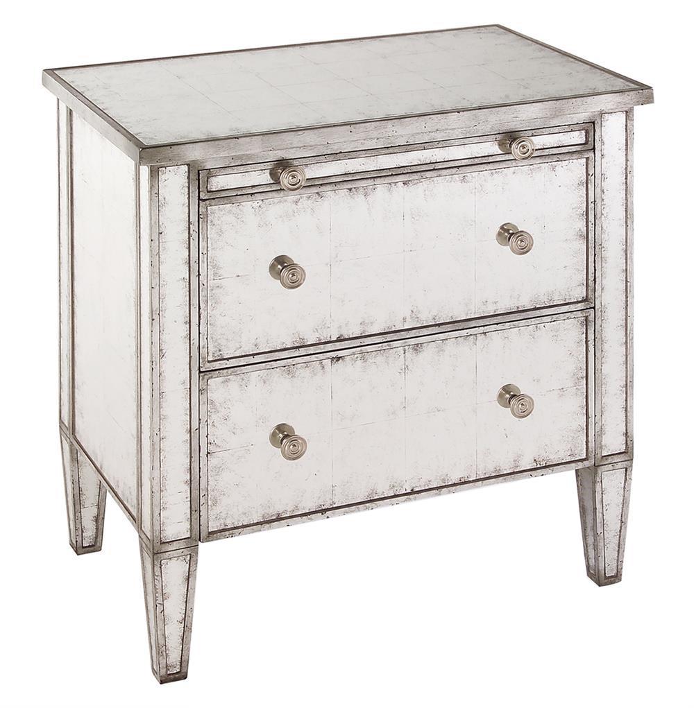 Katelyn Hollywood Regency Silver Leaf Mirror 2 Drawer Nightstand