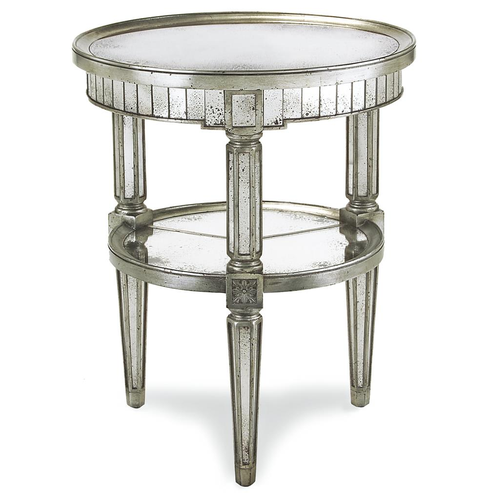 6880 Joelle Hollywood Regency Antique Silver Leaf Mirror Round Side End Table