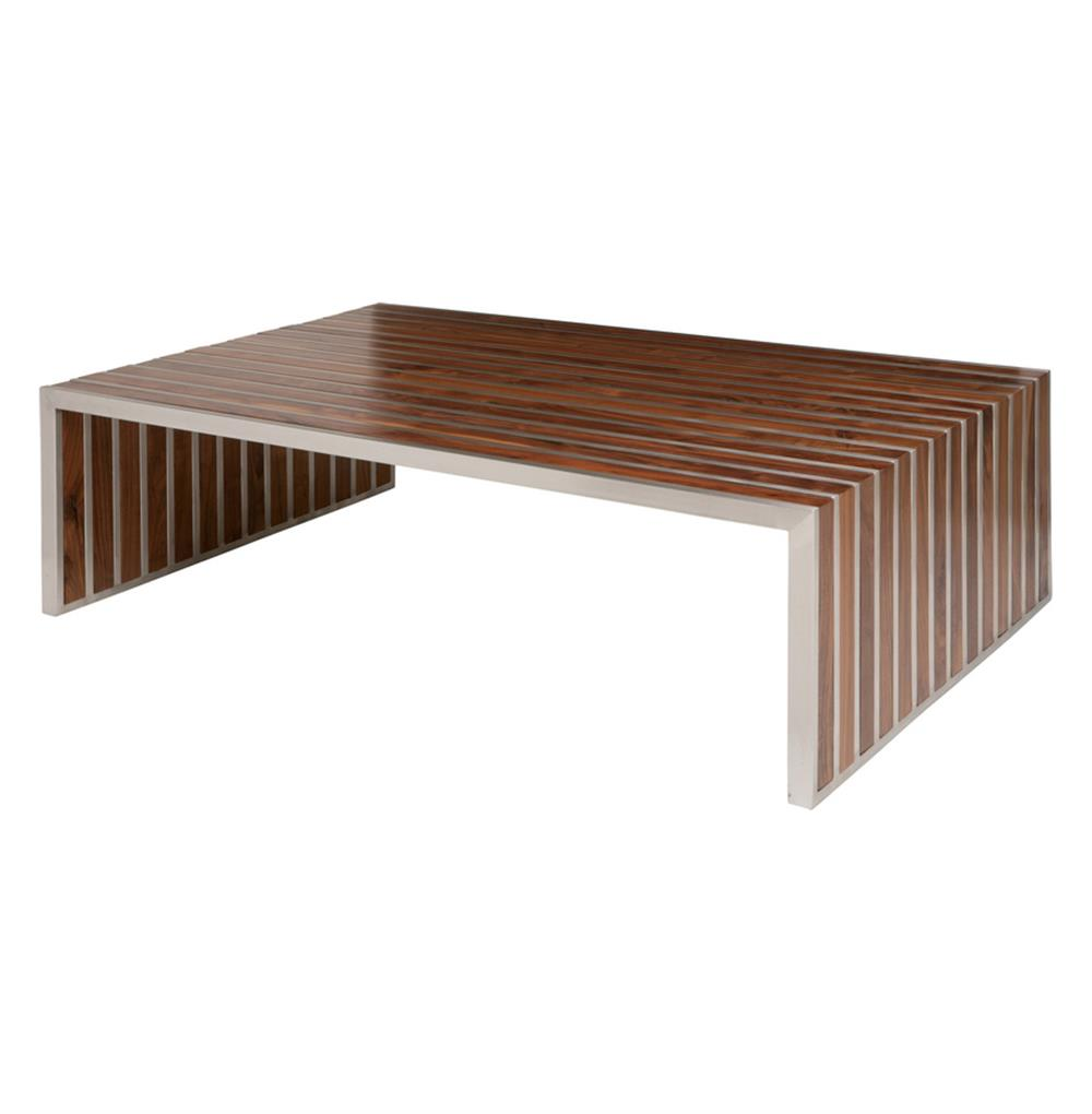 Modern Coffee Table Metal: Holden Stainless Steel Walnut Wood Slatted Modern Coffee Table
