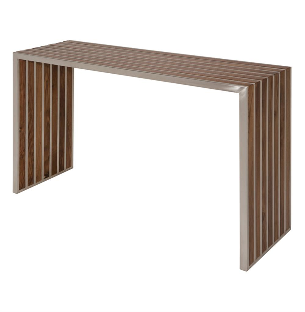 Holden stainless steel walnut wood slatted modern console