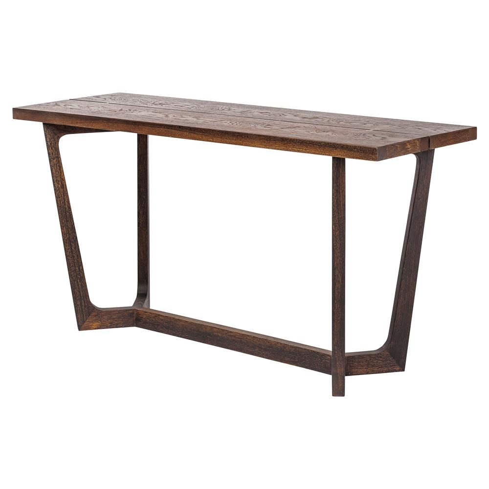 jaxon industrial loft rustic burnt oak wood console table kathy kuo home