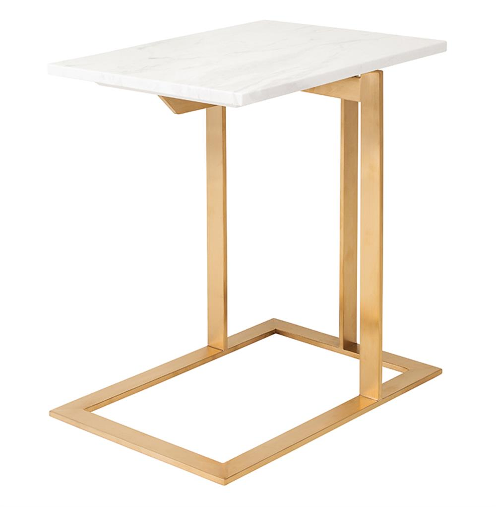 Rosalie Hollywood Regency Gold Steel White Marble Side End Table Kathy Kuo Home