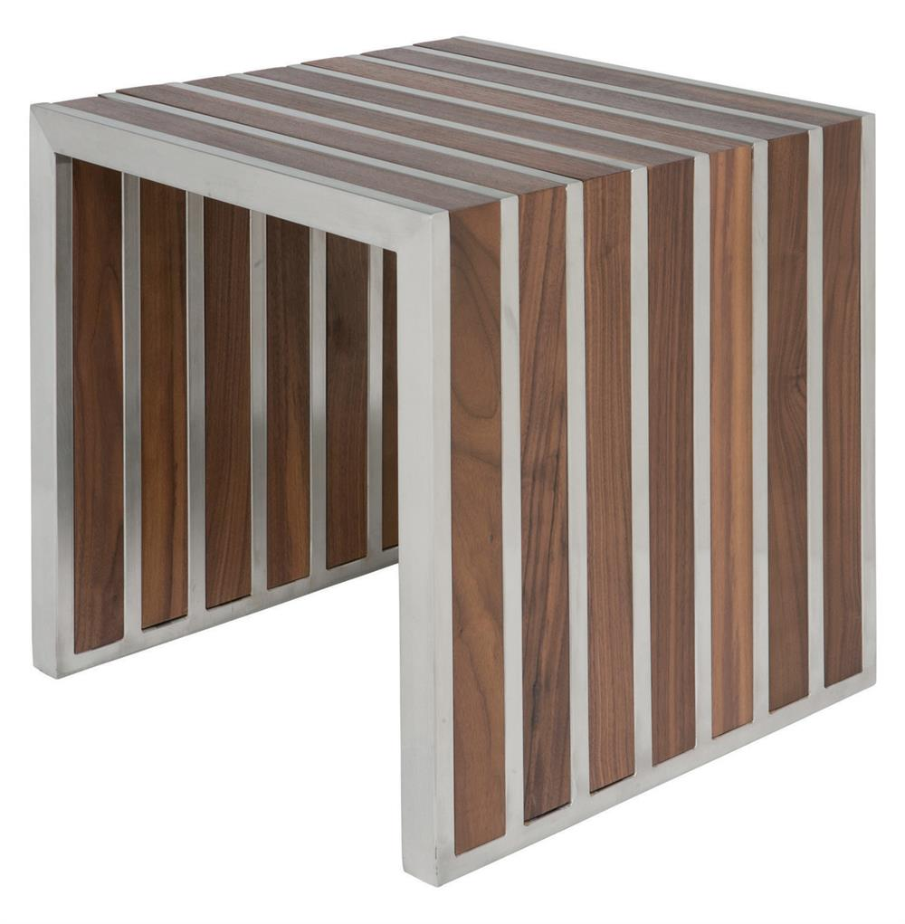 Holden Stainless Steel Walnut Wood Slatted Modern Side Table | Kathy Kuo  Home ...