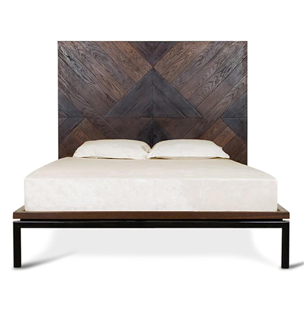 Landon Rustic Lodge Reclaimed Wood Chevron Chunky Bed