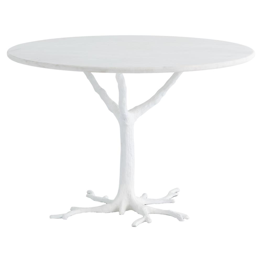 Bijou Global Bazaar White Tree Branch Iron Marble Petite Dining Table |  Kathy Kuo Home ...