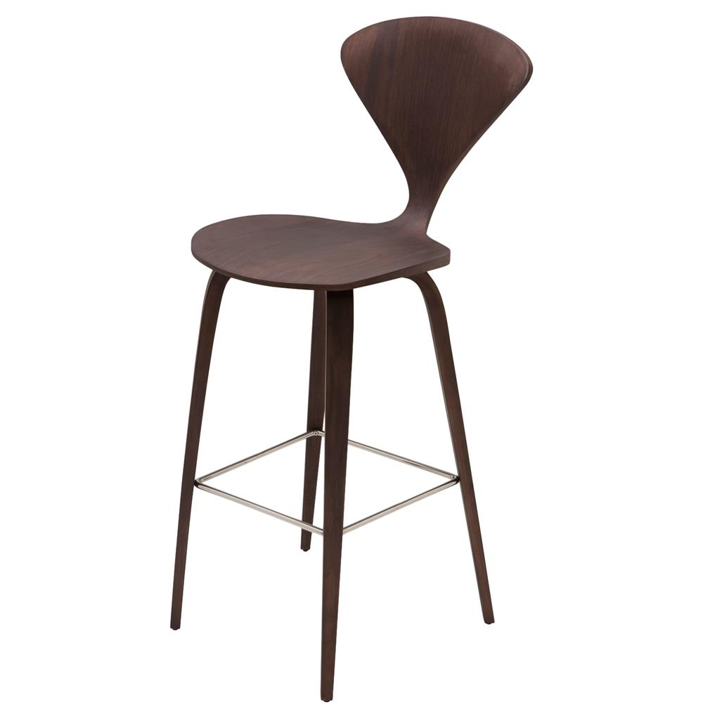 Regan American Dark Walnut Modern Molded Wood Counter Stool