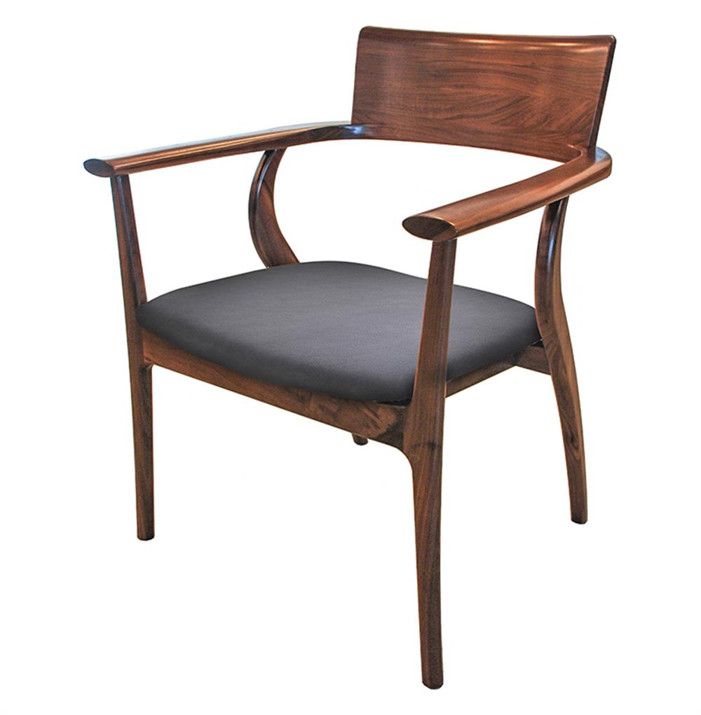 Alfie Mid Century Modern Walnut Black Leather Dining Arm Chair Kathy Kuo Home