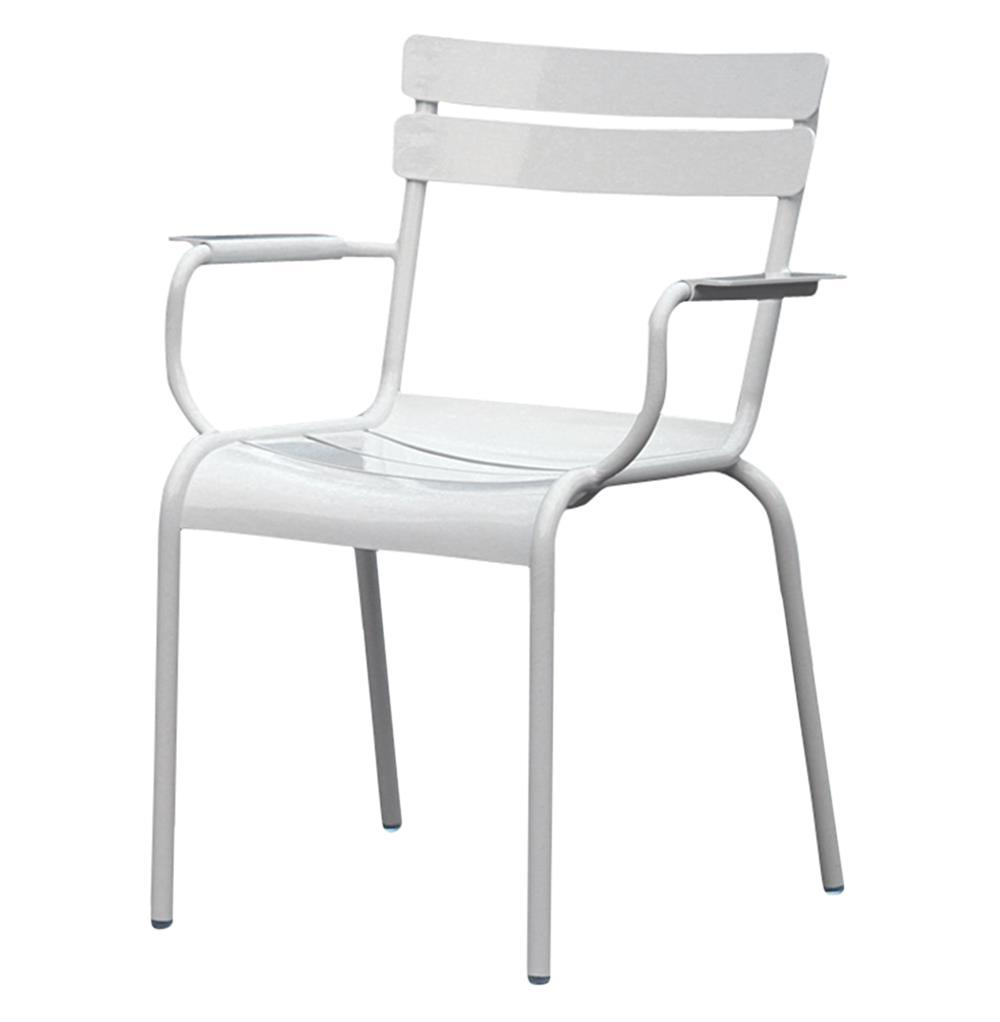 Sheffield industrial loft white metal outdoor dining arm chair pair kathy kuo home White metal outdoor furniture