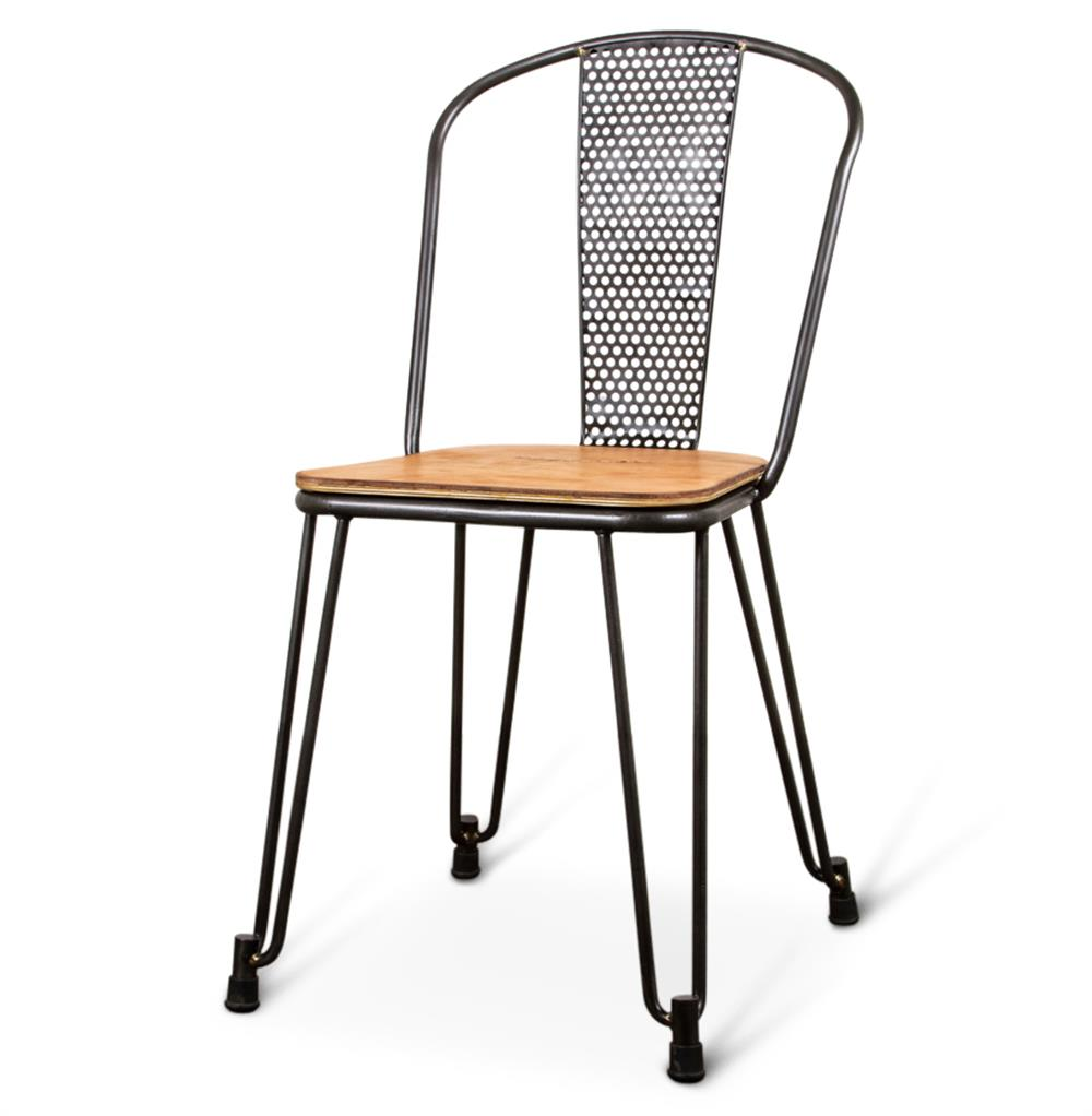 Brayden industrial loft mesh wood leather dining side for Wood and leather dining chair