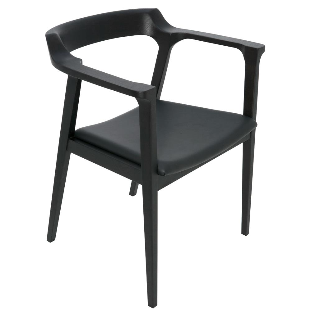 Katelyn mid century modern black oak leather dining arm for Mid century modern leather chairs