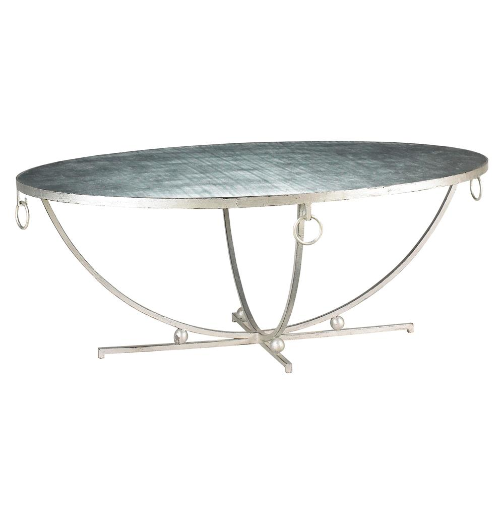 Jacques French Hollywood Regency Oval Silver Leaf Coffee Table Kathy Kuo Home