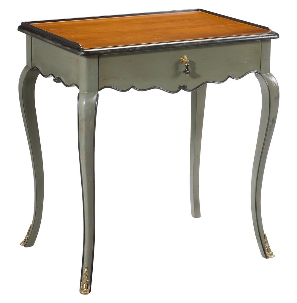 Sade French Country Cherry Wood Grey Blue Side End Table