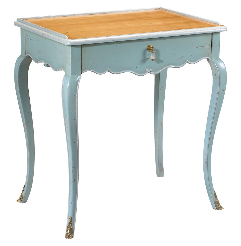 Sade french country cherry wood light blue side end table for Light wood side table