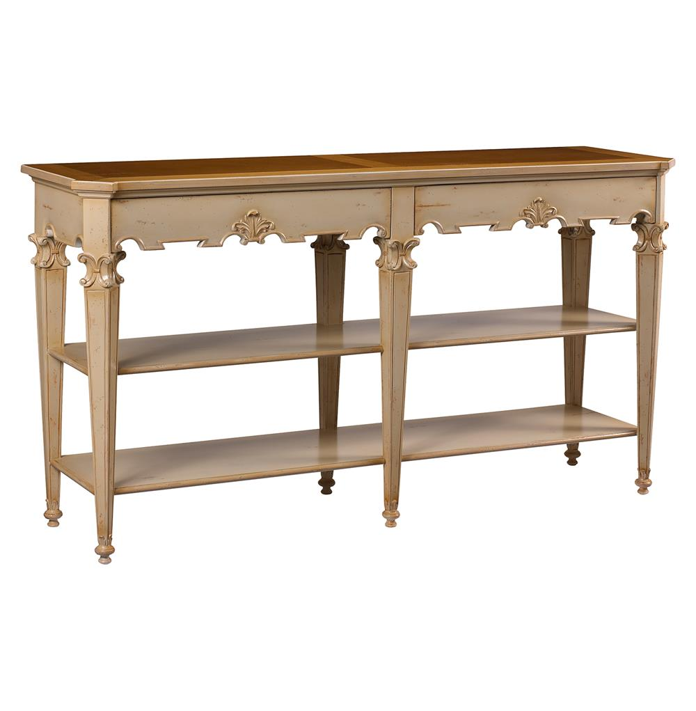 Claudel french country cherry wood ivory console table for Table console