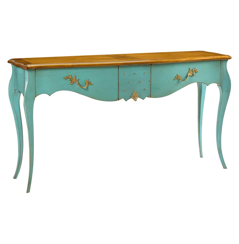 blue console table. Beauvoir French Country Cherry Wood Turquoise Blue Console Table | Kathy Kuo Home .