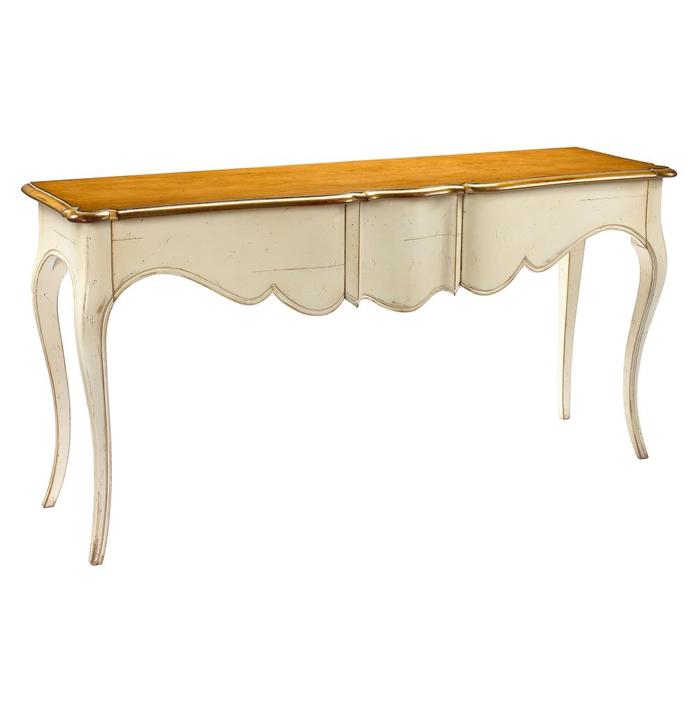 Manet french country cherry wood ivory console table kathy kuo home geotapseo Choice Image