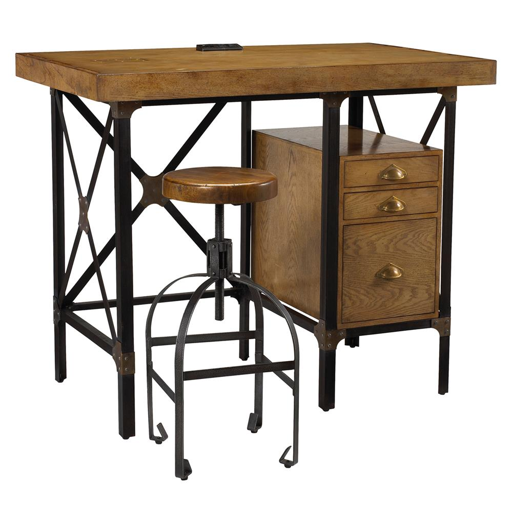 Lucien Industrial Loft Brown Oak Standing Desk With Stool Kathy Kuo Home
