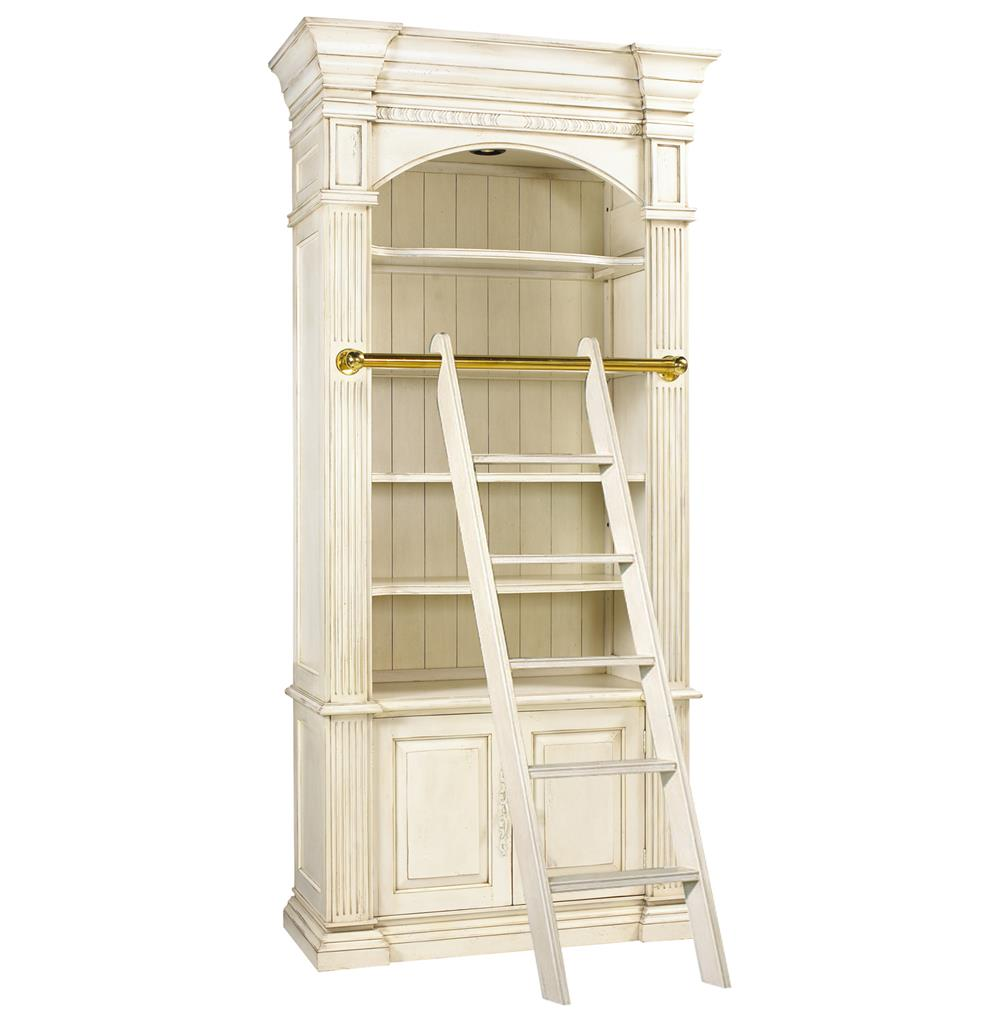 Percier French Country White Single Library Bookcase With
