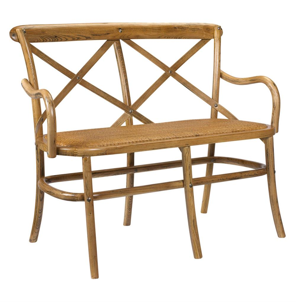 Kasson French Country Light Oak Wood Loveseat Dining Bench